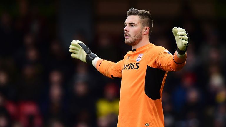 Jack Butland during the Barclays Premier League match between Watford and Stoke City at Vicarage Road