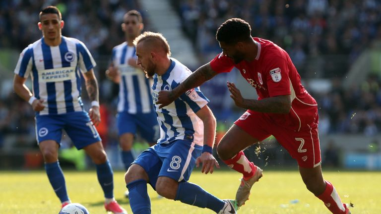 Brighton & Hove Albion's Jiri Skalak and Bristol City's Mark Little (right) during the Sky Bet Championship match at the AMEX Stadium, Brighton.