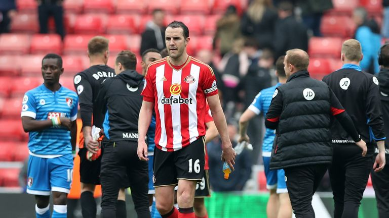 John O'Shea of Sunderland leaves the pitch following the full-time whistle in the Premier League match v Bournemouth