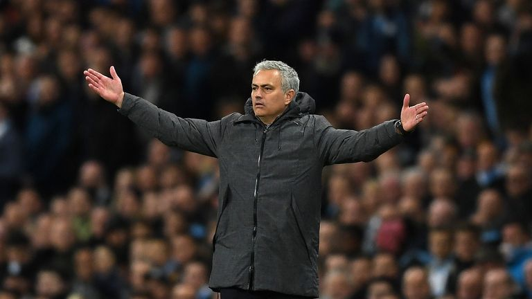 MANCHESTER, ENGLAND - APRIL 27:  Jose Mourinho, Manager of Manchester United reacts during the Premier League match between Manchester City and Manchester