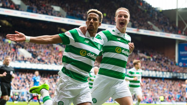 Celtic's Scott Sinclair celebrates with Leigh Griffiths after he scores a penalty for his side