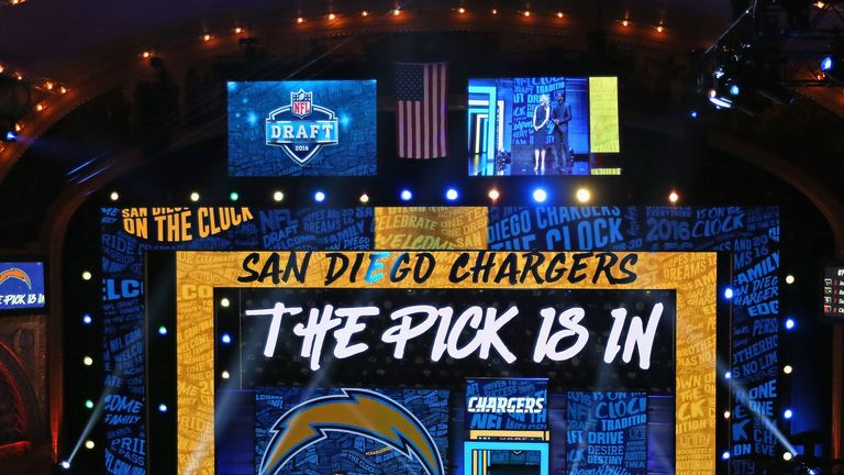 "CHICAGO, IL - APRIL 28:  A general view of the Auditorium theater announcing ""The Pick Is In"" during the 2016 NFL Draft on April 28, 2016 in Chicago, Illin"