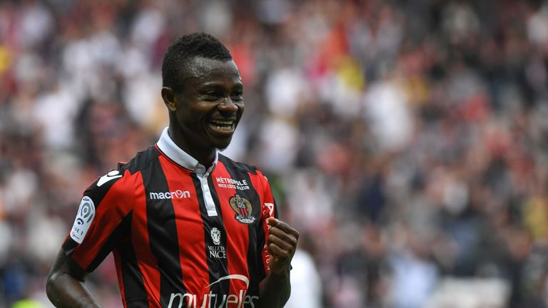 Nice's Ivorian midfielder Jean Michael Seri celebrates after scoring a goal during the French L1 Football match between OGC Nice and AS Nancy Lorraine at t