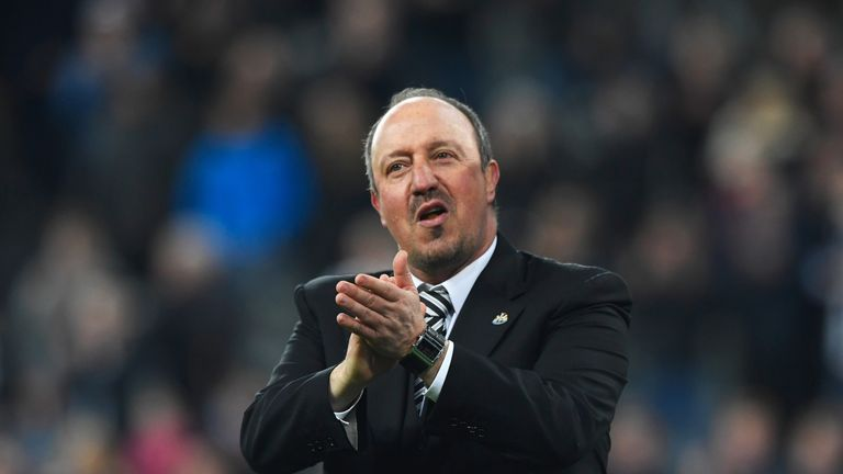 NEWCASTLE UPON TYNE, ENGLAND - APRIL 24:  Rafa Benitez manager of Newcastle United celebrates victory and promotion after the Sky Bet Championship match be