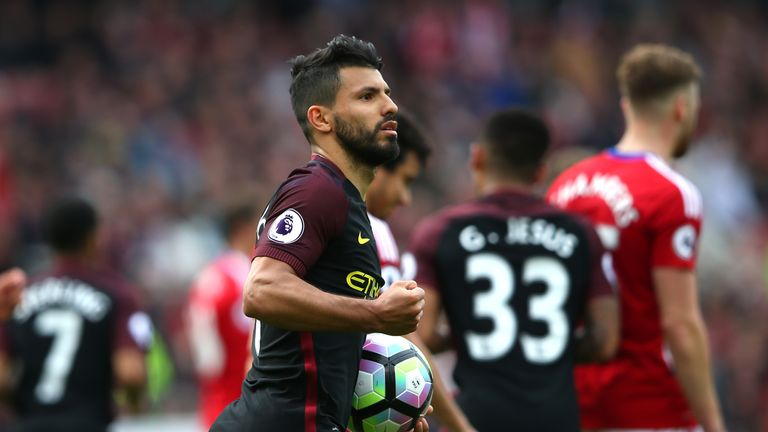 MIDDLESBROUGH, ENGLAND - APRIL 30:  Sergio Aguero of Manchester City celebrates scoring his sides first goal from the penalty spot during the Premier Leagu