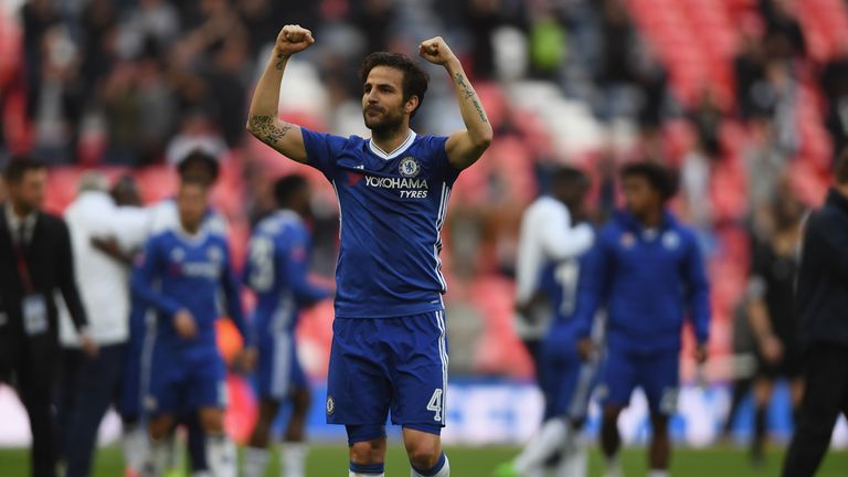 Cesc Fabregas celebrates after Chelsea's FA Cup win over Tottenham Hotspur
