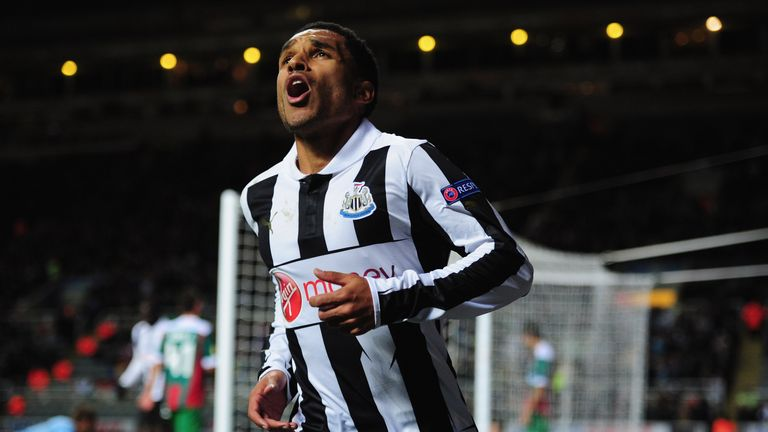NEWCASTLE UPON TYNE, ENGLAND - NOVEMBER 22:  Newcastle player Sylvain Marveaux celebrates the first goal during the UEFA Europa League Group  match between