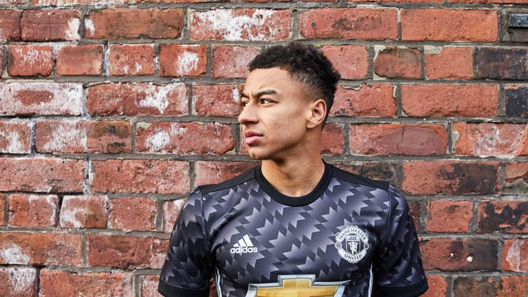Jesse Lingard models the new Manchester United 2017/18 season away kit (Credit: Adidas)