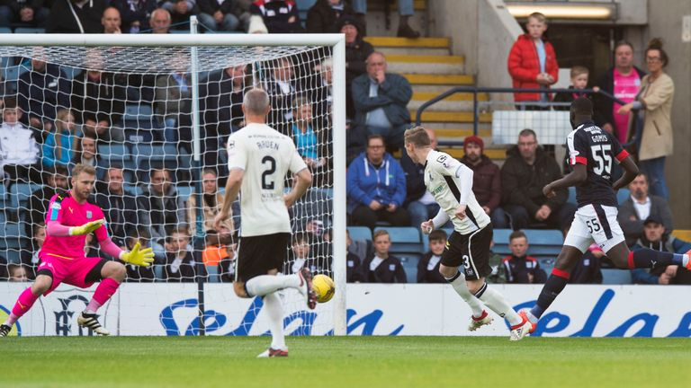 Billy McKay (second from right) opens the scoring for Inverness at Dens Park