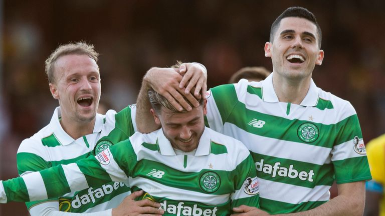 Leigh Griffiths, Patrick Roberts and Tom Rogic celebrate