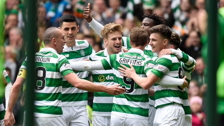 Stuart Armstrong (centre) celebrates Celtic's second goal