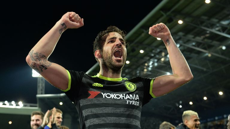 Cesc Fabregas celebrates victory after Chelsea's 1-0 win at West Brom clinched the Premier League title