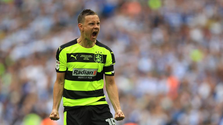 Chris Lowe celebrates scoring for Huddersfield during the penalty shootout