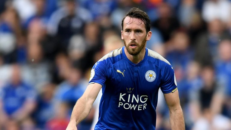 Christian Fuchs in Leicester's new home kit for 2017/18
