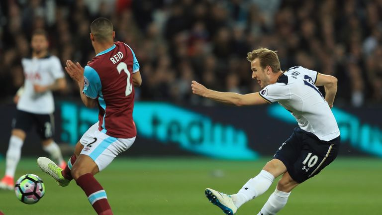 Harry Kane sees an effort saved by Adrian in the first half