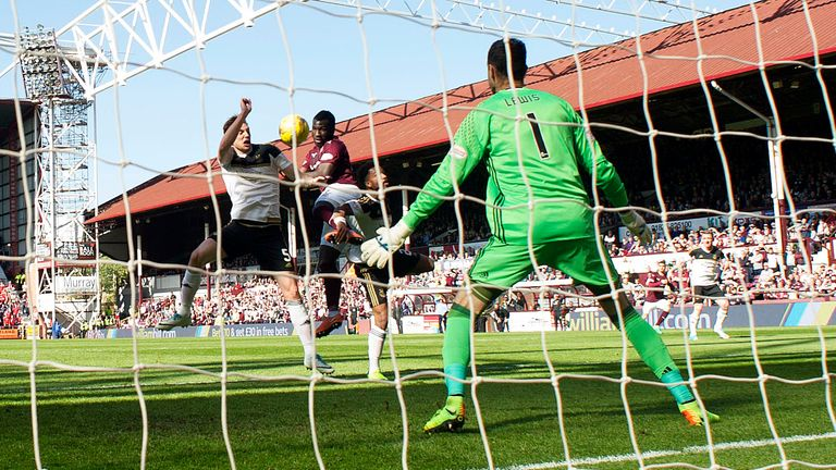 Hearts' Isma Goncalves scores the equaliser to make it 1-1 against Aberdeen earlier this month