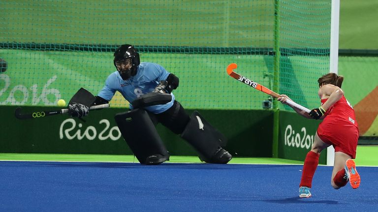 Helen nets from the penalty spot during Great Britain's 3-0 semi-final win over New Zealand at Rio 2016