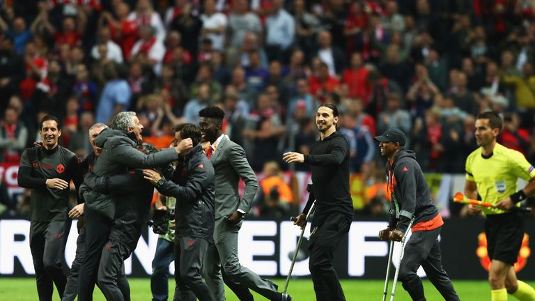Ibrahimovic joined the United celebrations on crutches after the final whistle