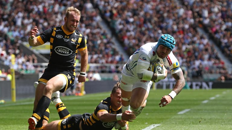 Jack Nowell goes over for the Exeter Chiefs