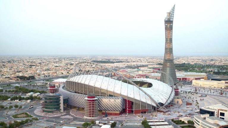 Aerial image of the completed Khalifa International Stadium in Qatar