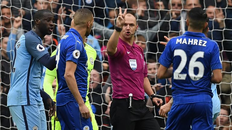 Referee Robert Madley rules out Riyad Mahrez's penalty for Leicester at Manchester City