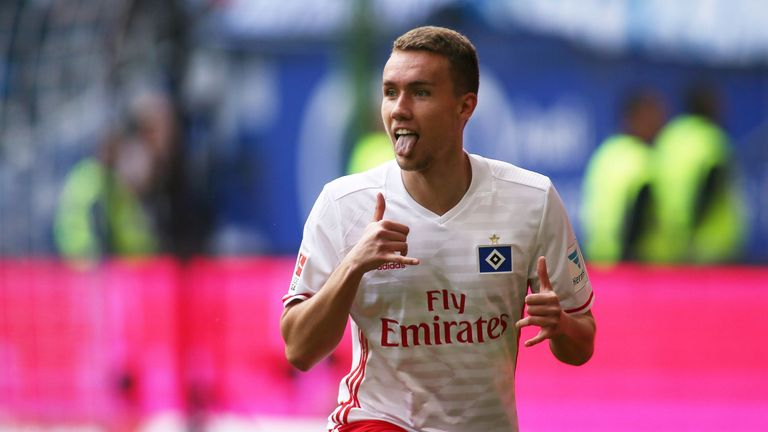 Luca Waldschmidt celebrates his last-gasp winner against Wolfsburg