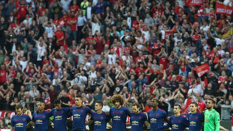 Ander Herrera and his team-mates took part in a period of silence before the game