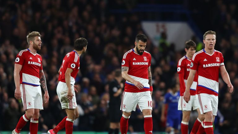 Middlesbrough were relegated to the Championship