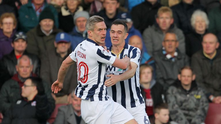 Millwall's Steve Morison celebrates scoring against Scunthorpe