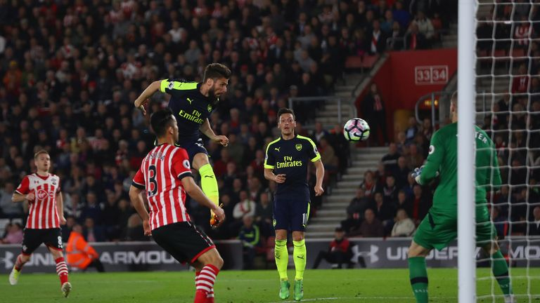 Olivier Giroud came off the bench to head Arsenal's second at St Mary's