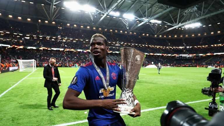 Paul Pogba's first season back at United ended with Europa League glory