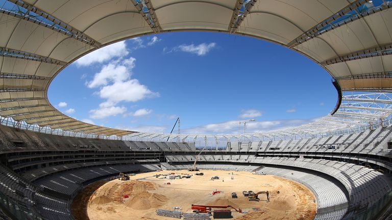 The new Perth Stadium is still under construction and will not be finished in time for the third Test