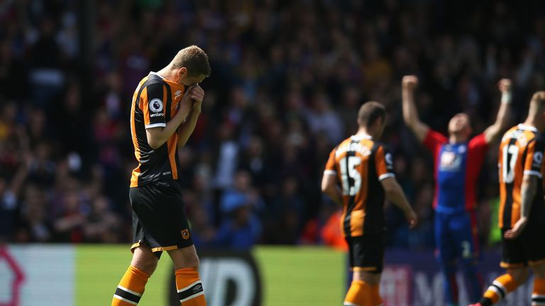 Hull were relegated by a defeat to Crystal Palace