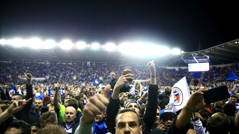 Reading fans celebrate reaching the play-off final after Tuesday's win over Fulham