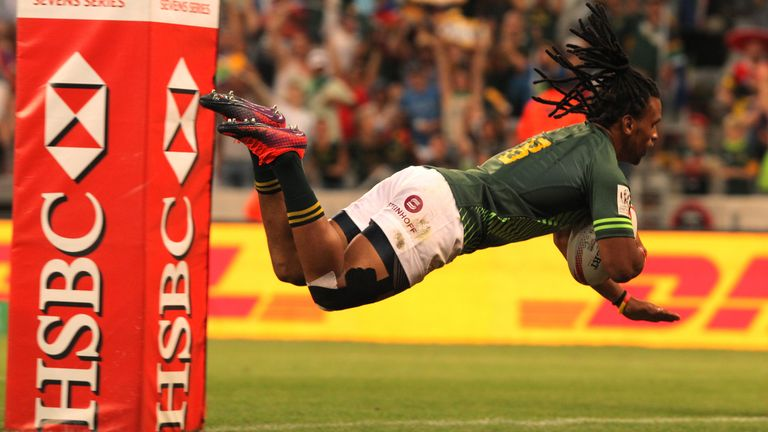Specman dives over for a try during the Cape Town tournament