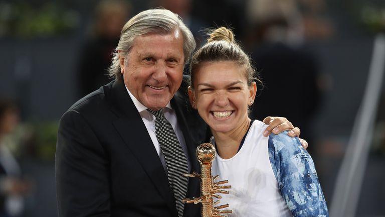 Ille Nastase congratulates Simona Halep on her win in Madrid