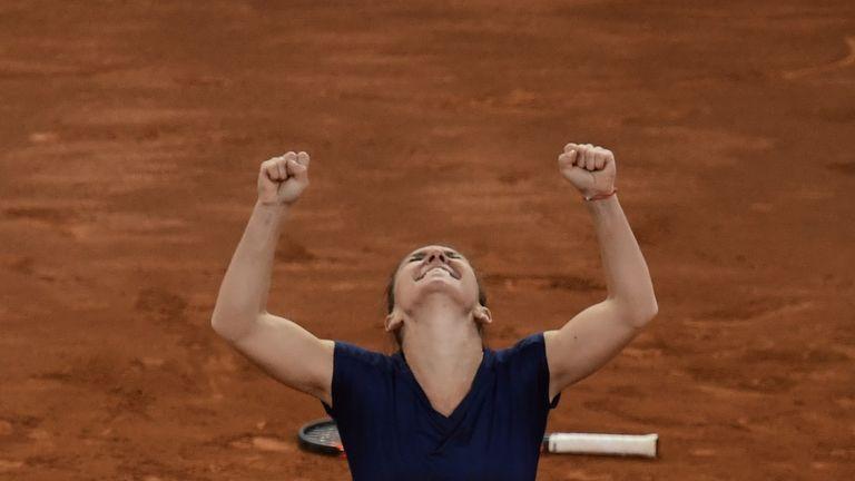 Simona Halep celebrates her Madrid Open triumph
