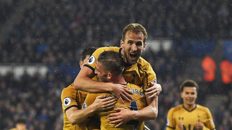 Harry Kane celebrates scoring against Leicester