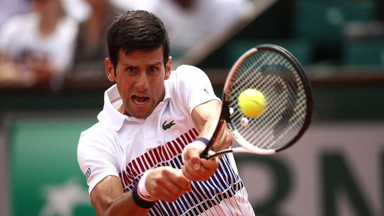 PARIS, FRANCE - MAY 29:  Novak Djokovic of Serbia hits a backhand during the first round match against Marcel Granollers of Spain on day two of the 2017 Fr