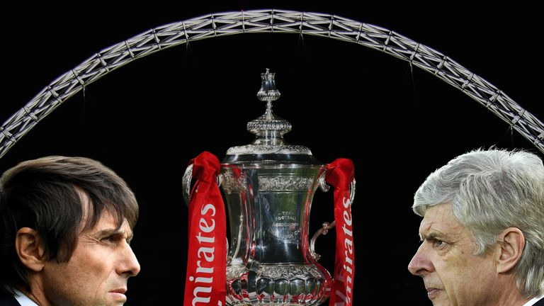 Getty Images composite - Antonio Conte Arsene Wenger Chelsea v Arsenal FA Cup final Wembley Stadium arch trophy