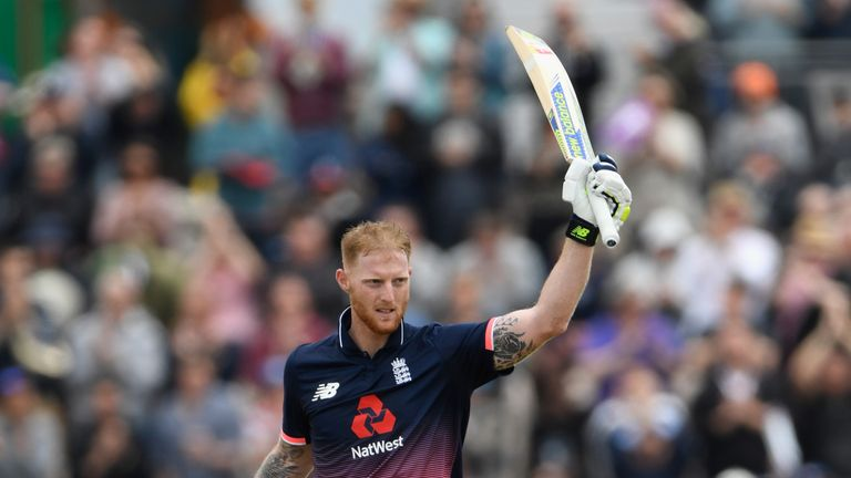 England batsman Ben Stokes celebrates reaching his century during the 2nd Royal London ODI against South Africa