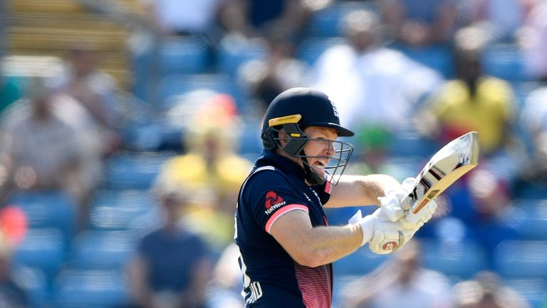 LEEDS, ENGLAND - MAY 24:  England batsman Eoin Morgan hits out during the 1st Royal London One Day International match between England and South Aafrica at