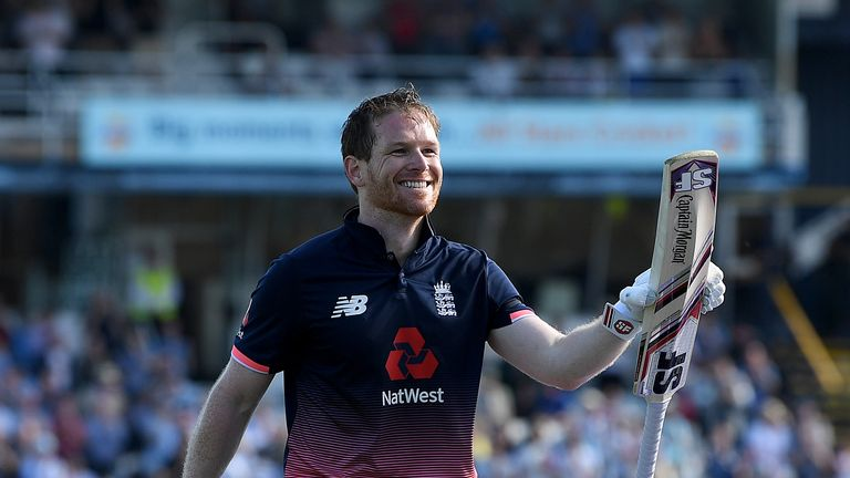 LEEDS, ENGLAND - MAY 24:  England captain Eoin Morgan salutes the crowd as he leaves the field after making 107 runs during the 1st Royal London ODI match