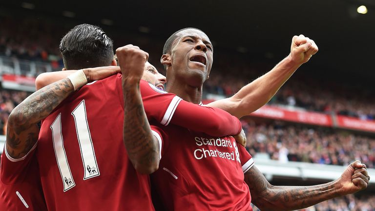 Georginio Wijnaldum celebrates opening the scoring during the match between Liverpool and Middlesbrough