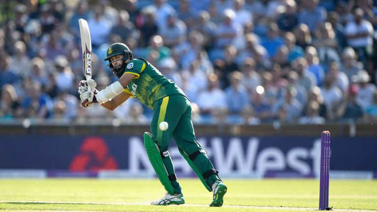 South Africa batsman Hashim Amla hits out during the 1st Royal London One Day International match between England and South Africa