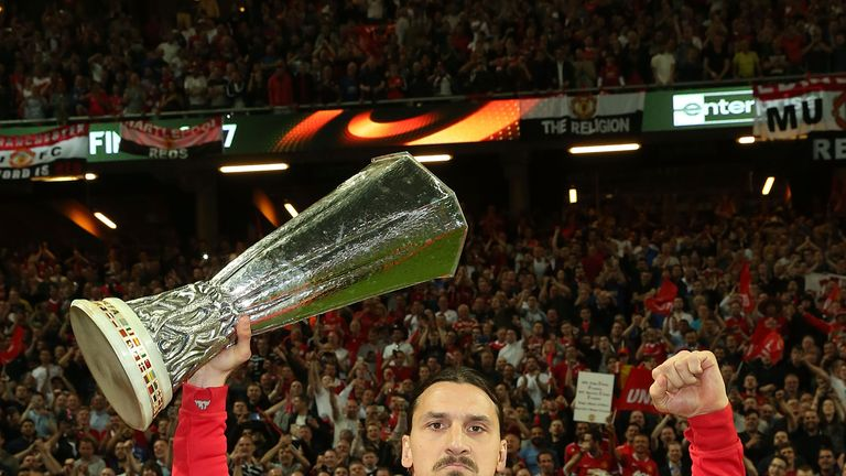 Zlatan Ibrahimovic celebrated on the pitch following Manchester United's Europa League win