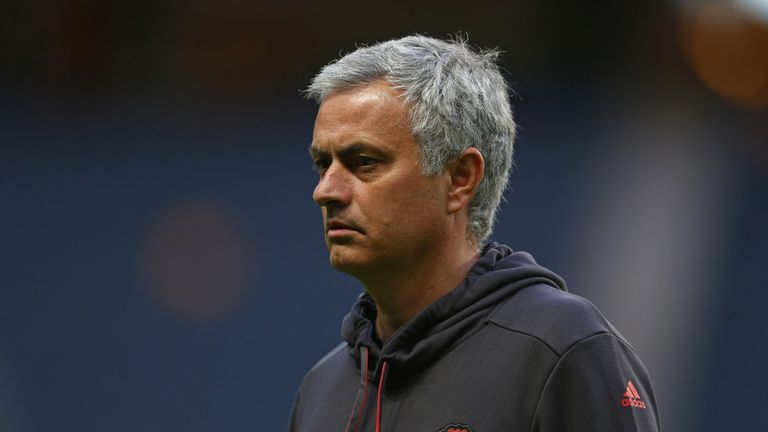STOCKHOLM, SWEDEN - MAY 23:  In this handout image provided by UEFA, Jose Mourinho, Manager of Manchester United looks on during a walk around The Friends
