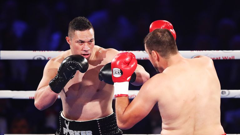 AUCKLAND, NEW ZEALAND - MAY 06:  Joseph Parker of New Zealand fights Razvan Cojanu of Romania for the WBO Heavyweight Title at Vodafone Events Centre on Ma