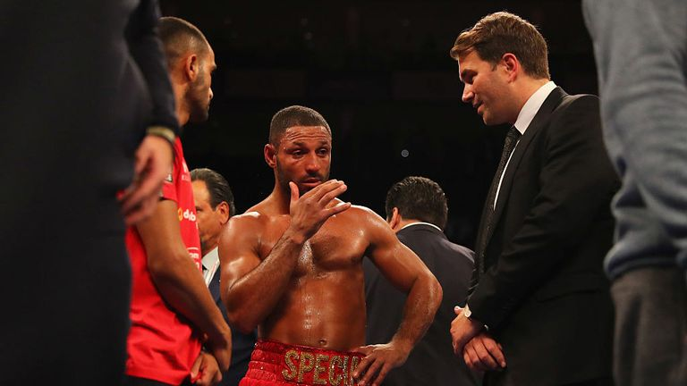 Kell Brook and promoter Eddie Hearn look on in defeat to Gennady Golovkin