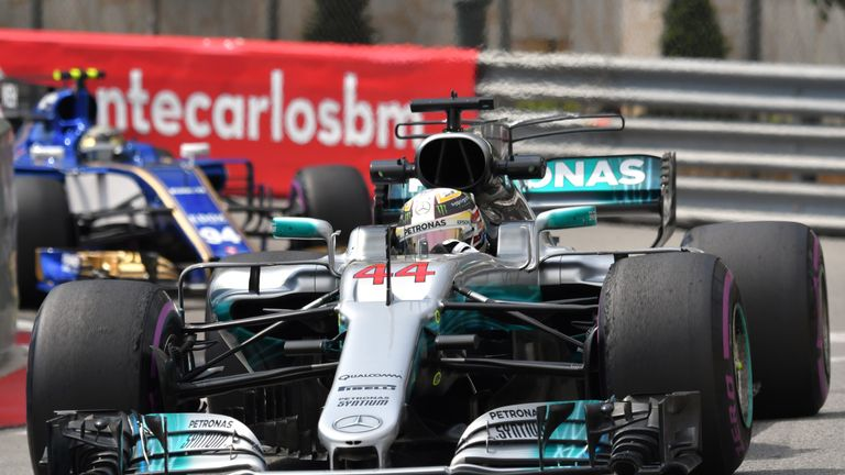 Mercedes' British driver Lewis Hamilton drives during the first practice session at the Monaco street circuit, on May 25, 2017 in Monaco, three days ahead